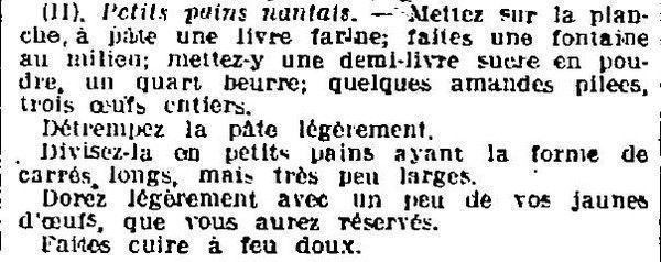 1923 : petits pains nantais