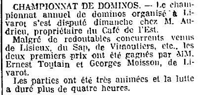 1925 : jeu de dominos