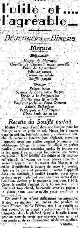 1924 : repas de réveillon