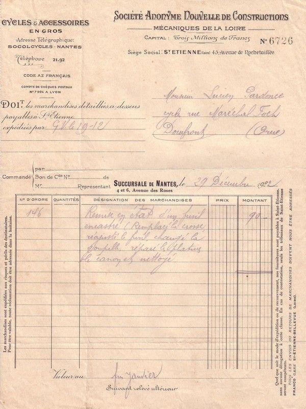 1922 : réparation fusil