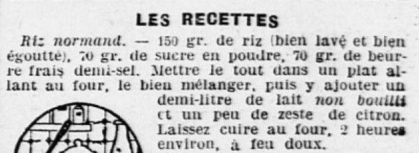1925 : riz normand