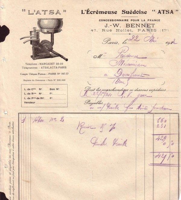 1924 : écrémeuse ATSA