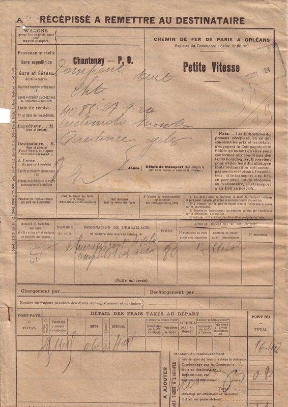 1924 : chemin de fer de Paris à Orléans