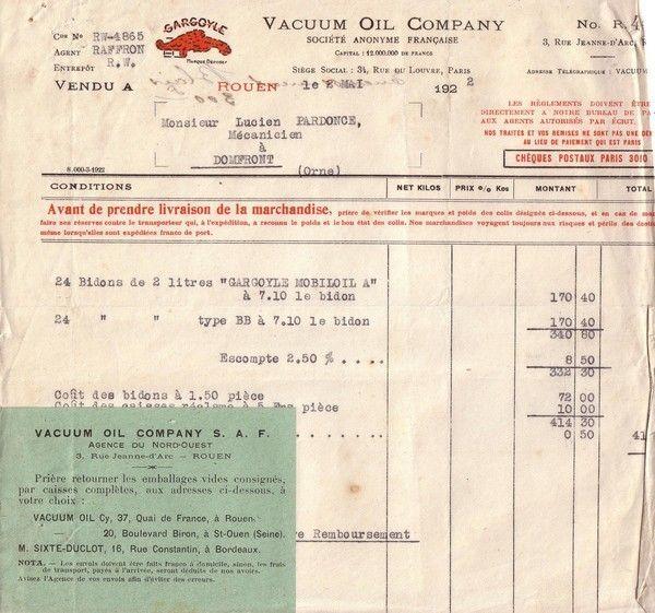 1922 : Vacum Oil Company