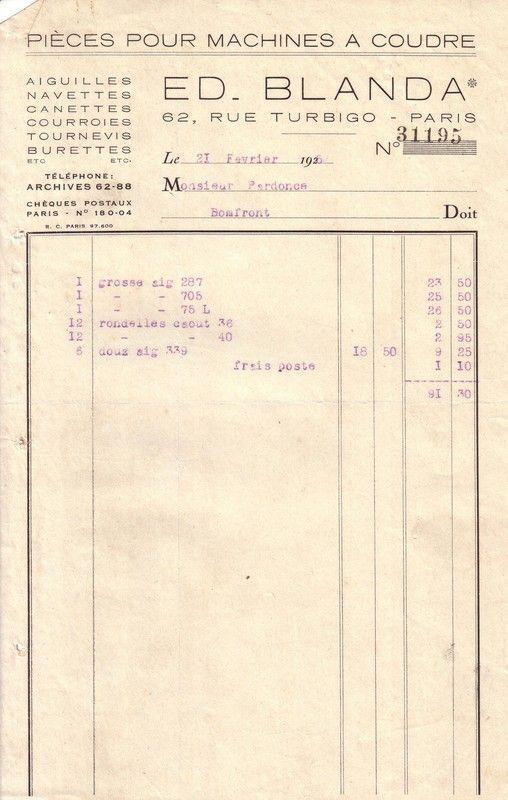 1925 : aiguille de machine à coudre