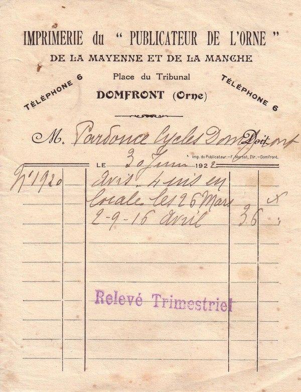 1922 : Publicateur de l'Orne