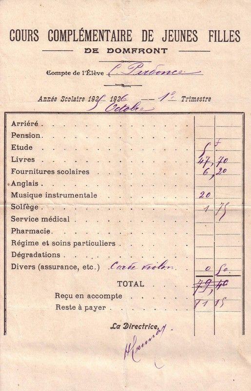 1925 : compte de l'élève