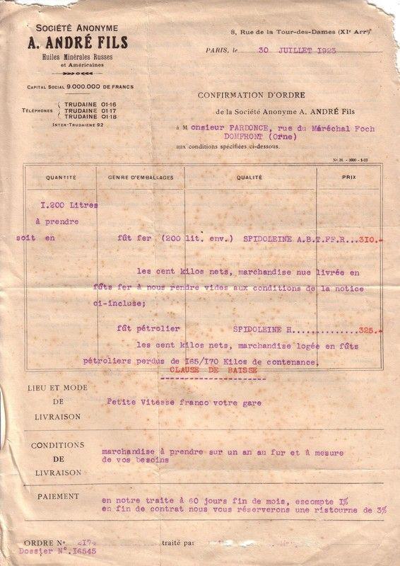 1923 : Société Anonyme A. André Fils