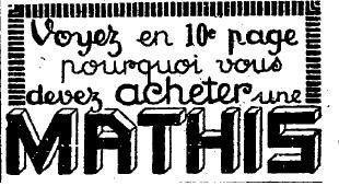 1924 : publicité Mathis