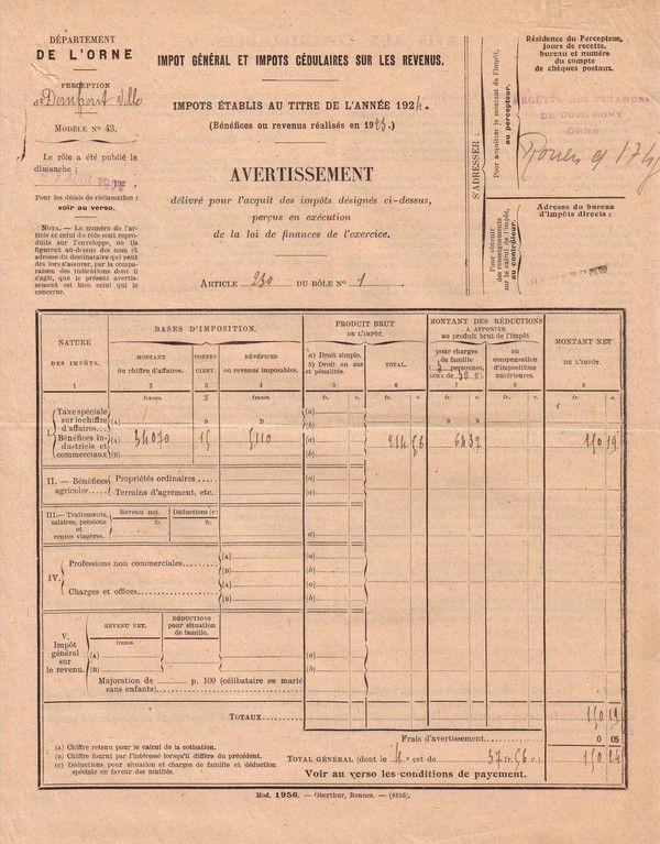 1924 : impôt et humour