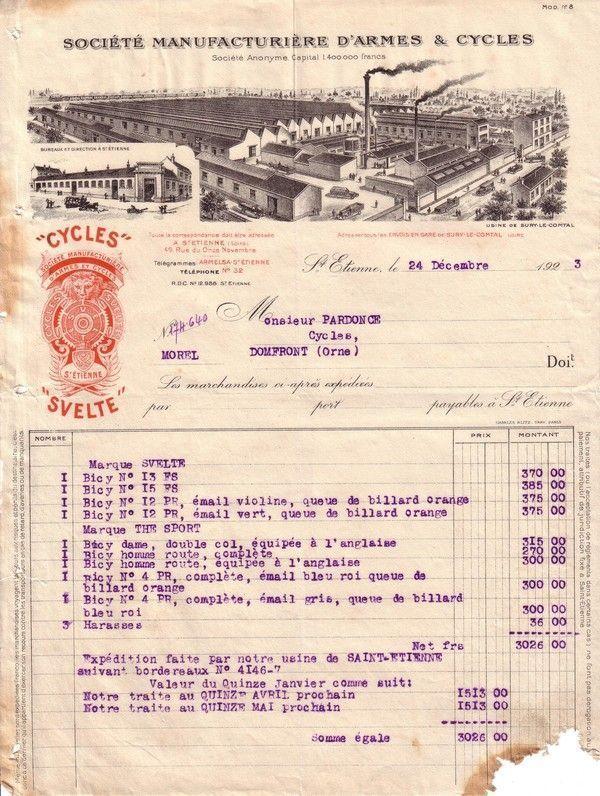 1923 : manufacture des armes et cycles de Saint-Etienne