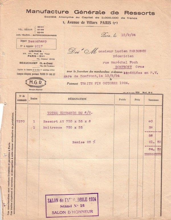 1924 : manufacture générale de ressorts