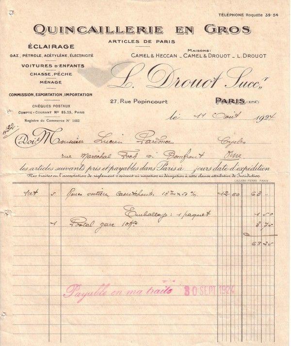 1924 : quincaillerie