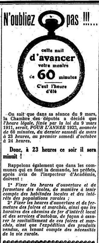1922 : changement d'heure