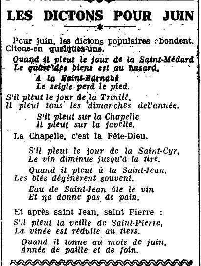 1922 : les dictons de juin