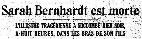 26 mars 1923 : mort de Sarah Berhnardt