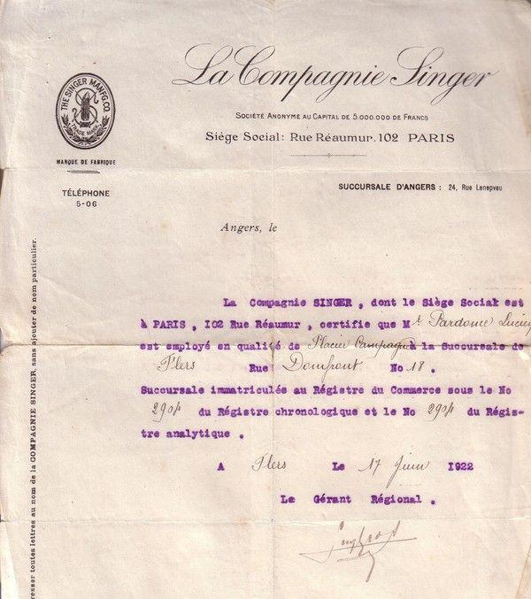 1922 : Singer : le contrat