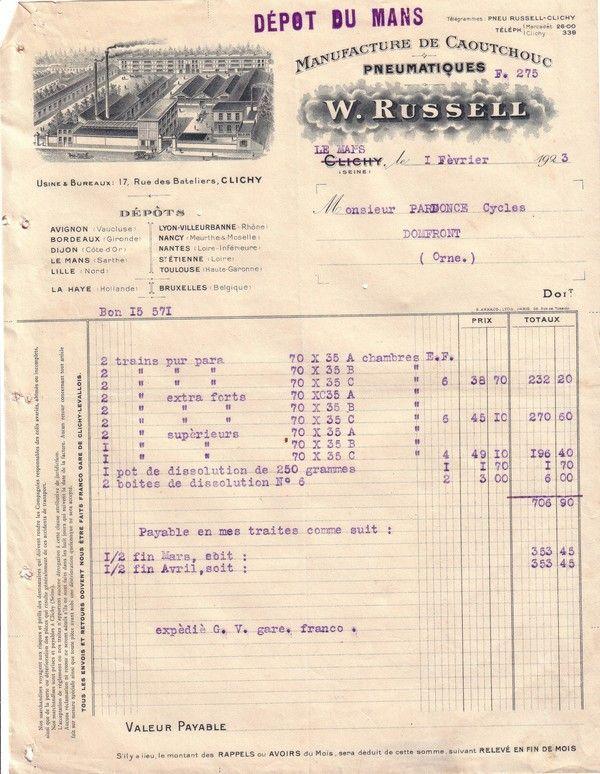 1923 : pneumatique W.Russell