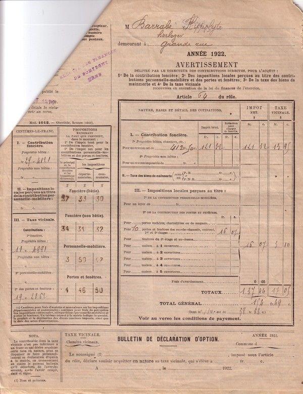 1922 : impôt sur les portes et fenêtres