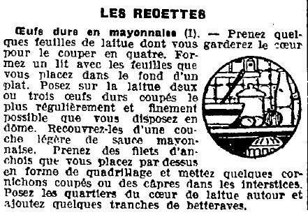 1923 : recette