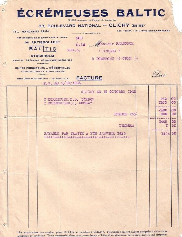 1925 : écrémeuses Baltic