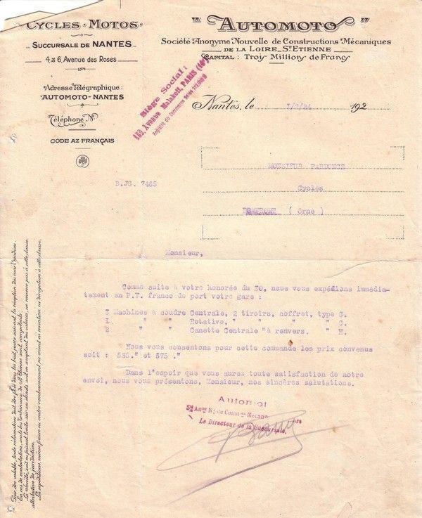 1924 : machine à coudre Automoto