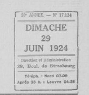 1924 : dimanche 29 juin