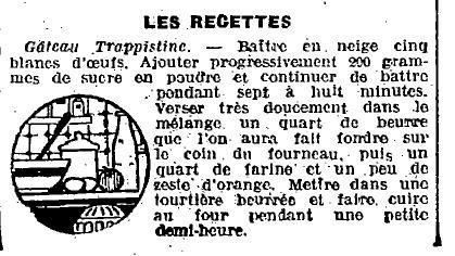 1924 : gâteau trapistine