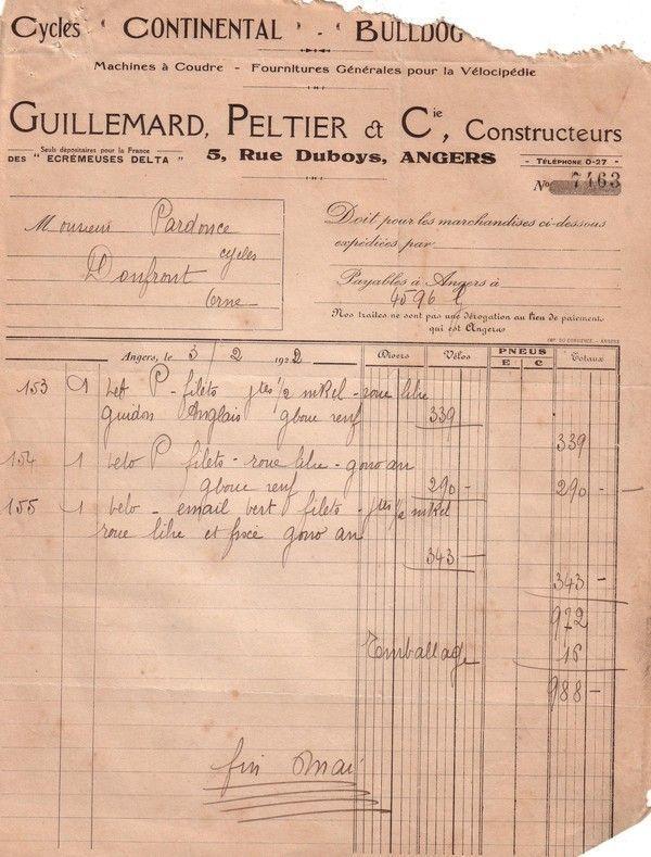 1922 : Guillemard, Peltier et Cie