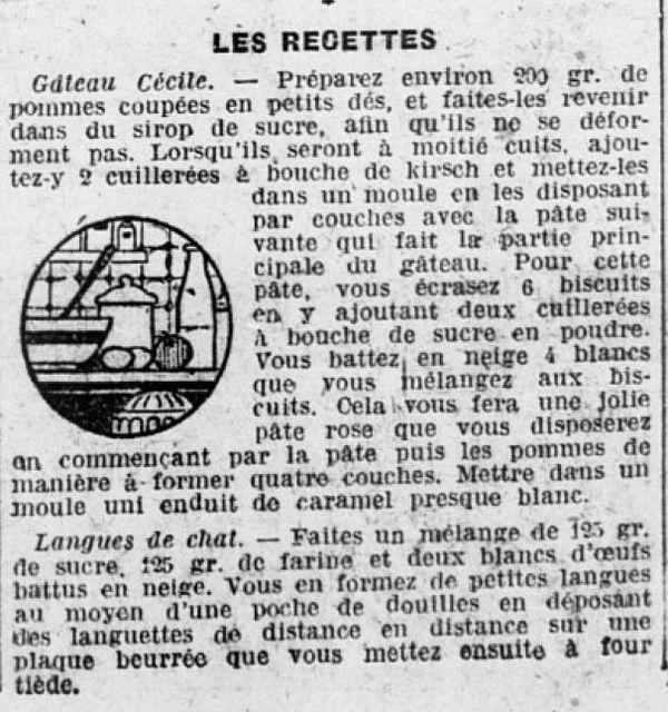 1925 : langues de chat