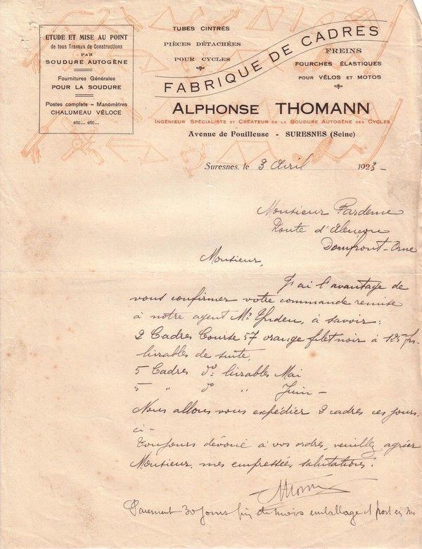 1923 : Alphonse Thomann