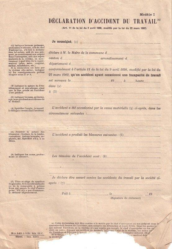 1923 : accident de travail