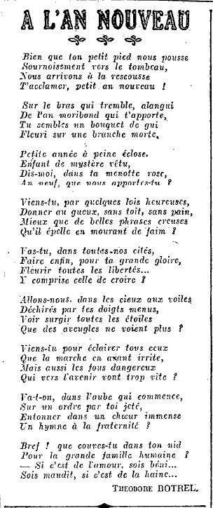 """1925 : chant """"l'An Nouveau"""""""