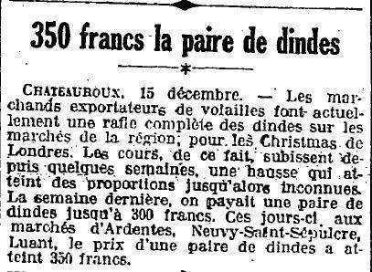 1923 : dinde
