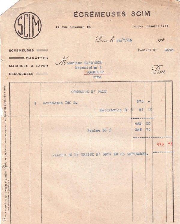 1925 : écrémeuses SCIM