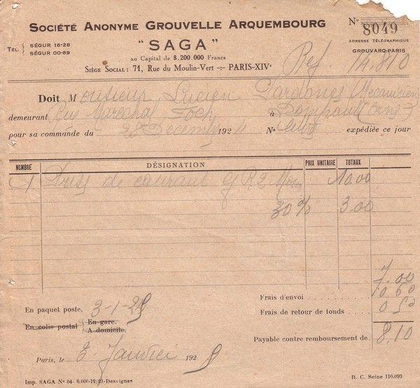 1924 : Société Anonyme Grouvelle Arquembourg