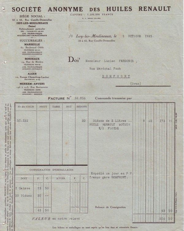 1925 : Société Anonyme des Huiles Renault