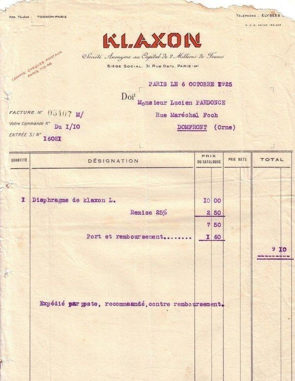 1925 : Klaxon